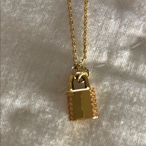 Kate Spade pave mini lock necklace